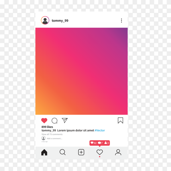 Instagram app page template on transparent background PNG