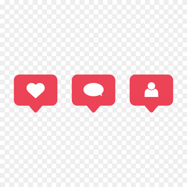 Instagram photo frame template and social media notification icon symbol on transparent background PNG