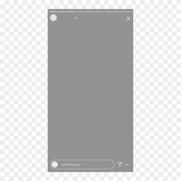 Instagram status template on smartphone on transparent background PNG
