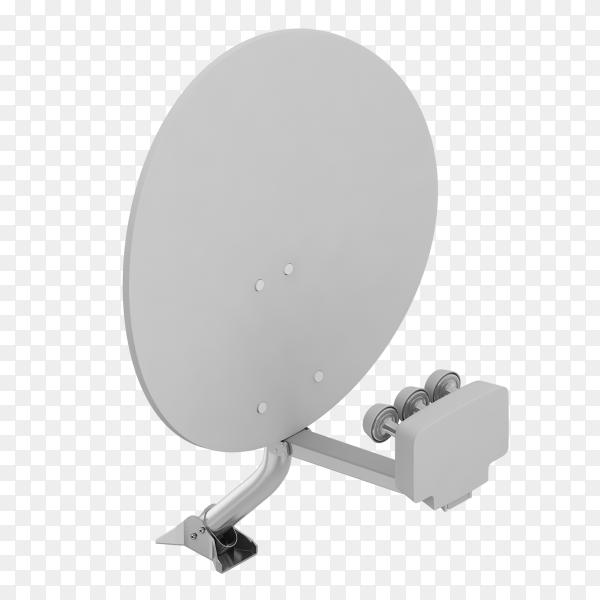 Isometric satellite dish on transparent background PNG