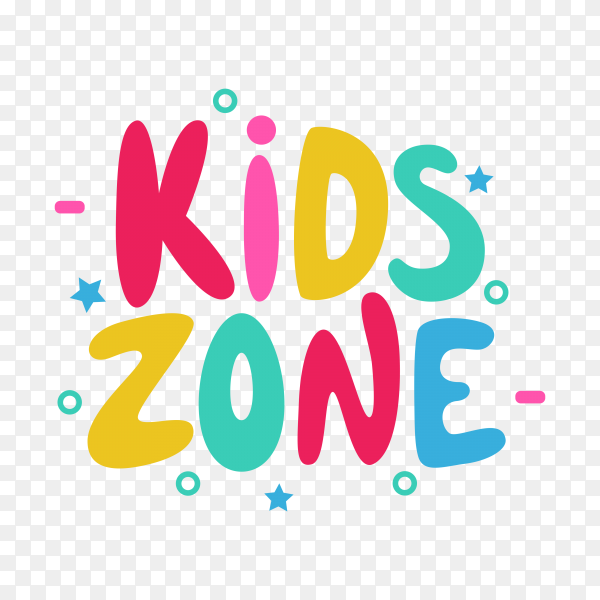 Kids zone cartoon 3d text style effect on transparent background PNG