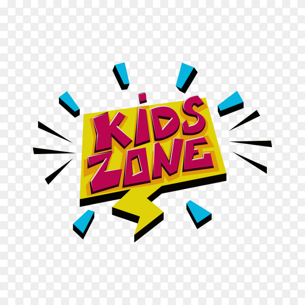 Kids zone label text sticker on transparent background PNG