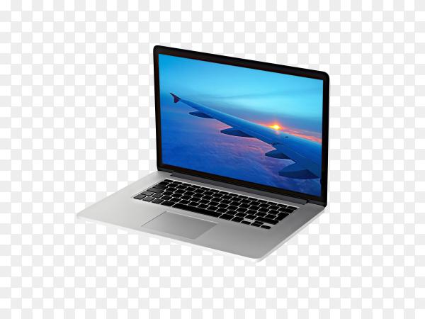 Laptop device mock-up on transparent background PNG