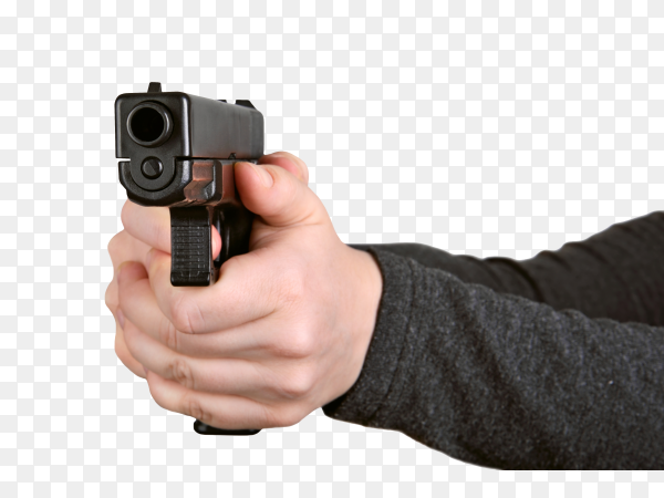 Man hands holding gun isolated on transparent background PNG