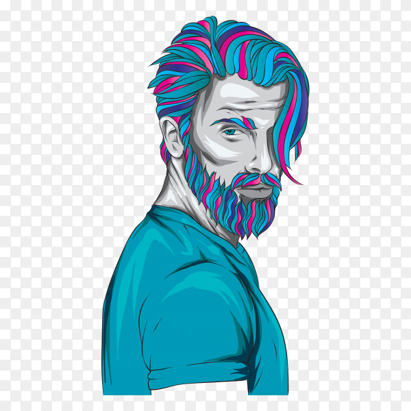 Man with fashionable hairstyle illustration on transparent background PNG