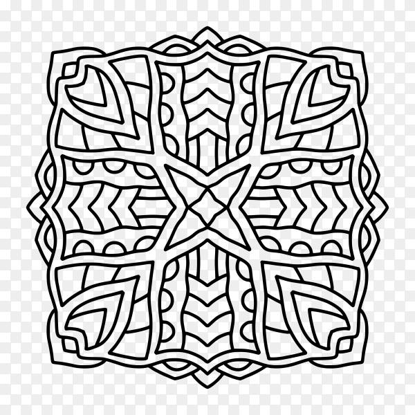 Mandala tile ornament on transparent background PNG