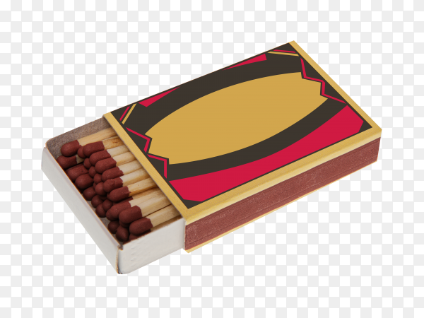 Opened box of matches isolated on transparent background PNG