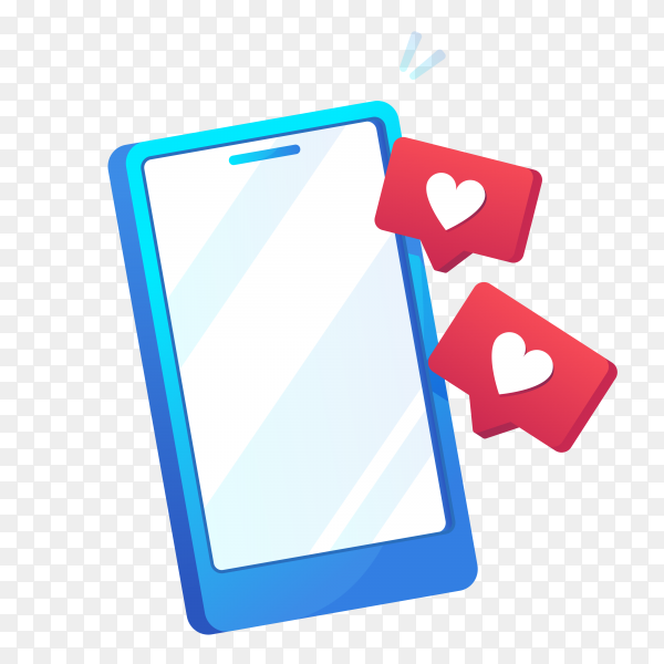 Mobile phone with love sign icon in gradient design on transparent background PNG