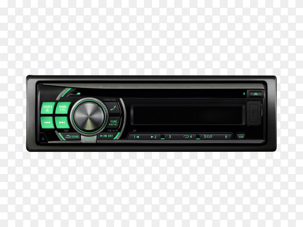 Modern car audio system on transparent background PNG