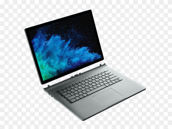 Modern gray laptop isolated on transparent background PNG