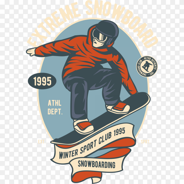 Modern urban style T-shirt with boy on snowboard. Illustration extreme sport for guys on transparent background PNG