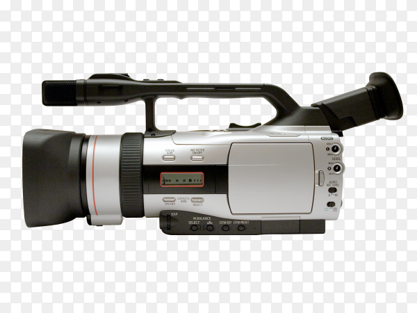 Modern video camera isolated on transparent background PNG