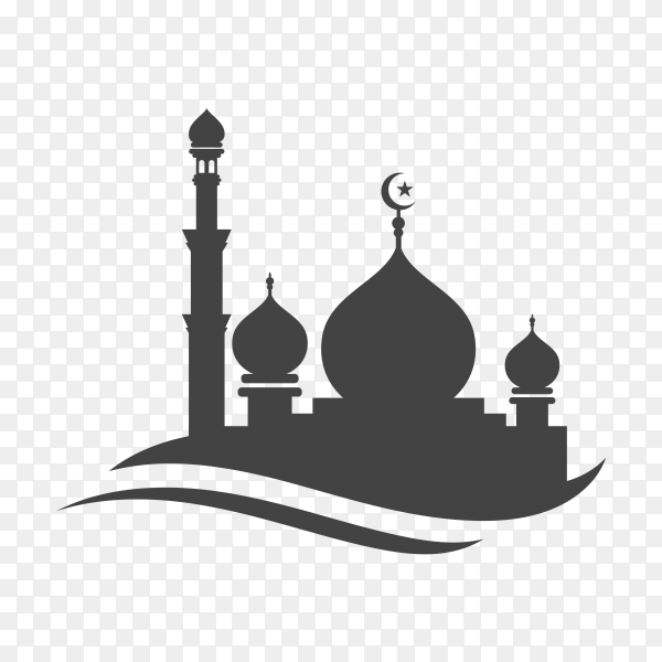 Mosque icon isolated hand drawn on transparent background PNG