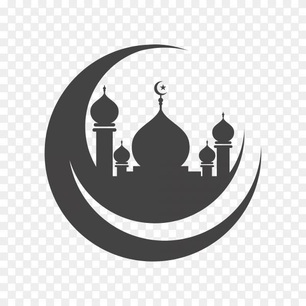 Mosque icon template on transparent background PNG