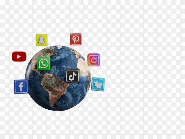 Most popular social media logo icon around earth on transparent background PNG