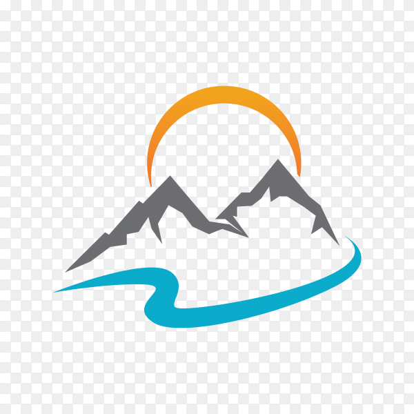 Mountain logo template on transparent background PNG