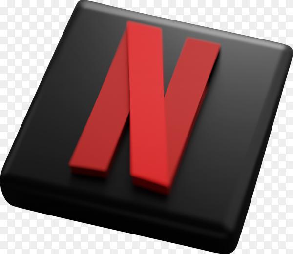Netflix 3d rendering on transparent background PNG