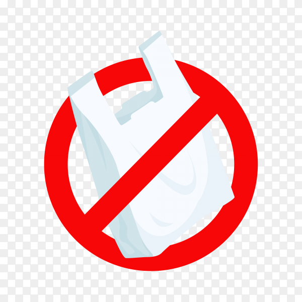 No plastic bags forbidden sign. Save the earth and good environment concept on transparent background PNG