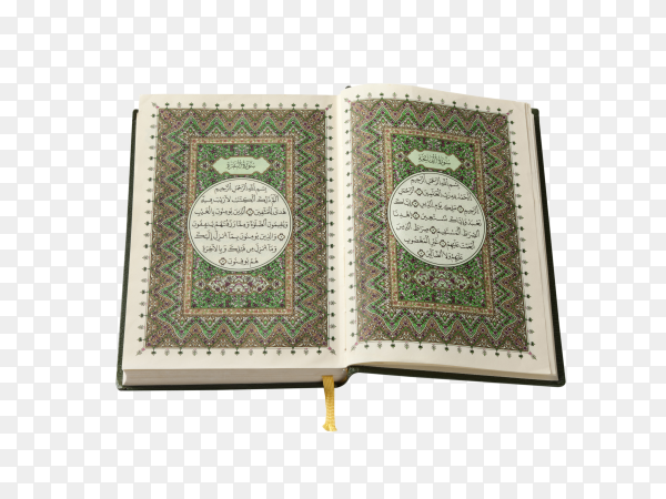 Opened Quran book isolated on transparent background PNG