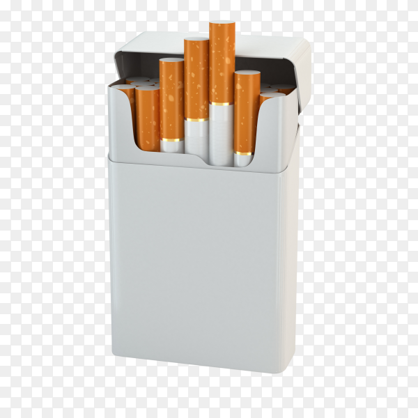 Opened pack full of cigarette closeup isolated on transparent background PNG