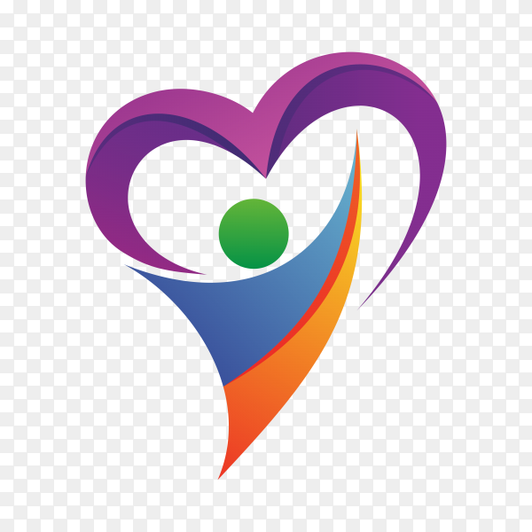 People with heart logo on transparent background PNG