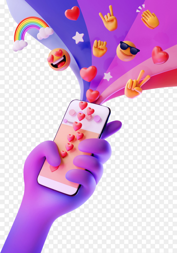 Hand holding smartphone with emoji on transparent background PNG