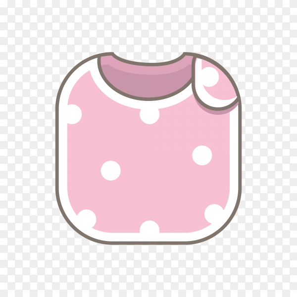Pink baby bib illustration on transparent background PNG