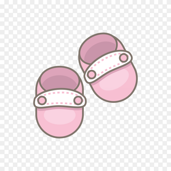 Pink baby shoes on transparent background PNG