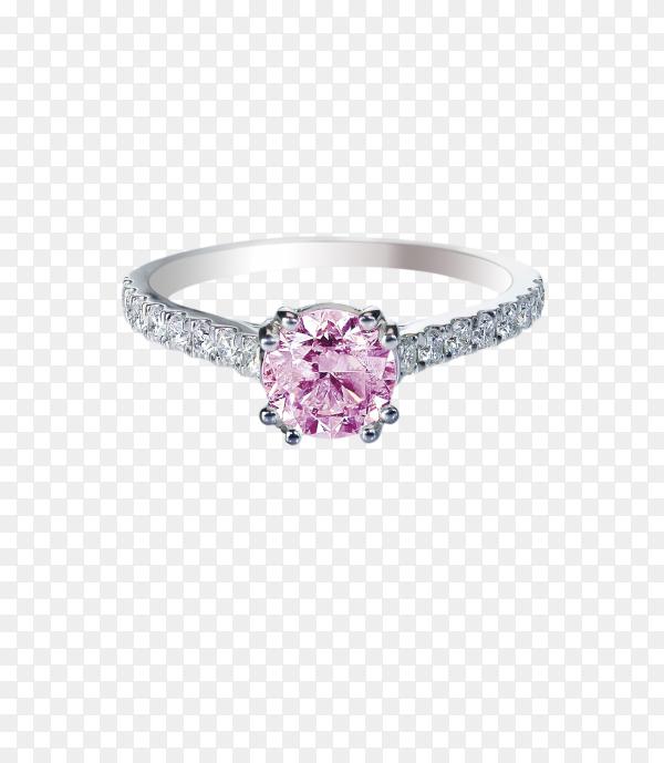 Pink diamond wedding ring on transparent background PNG
