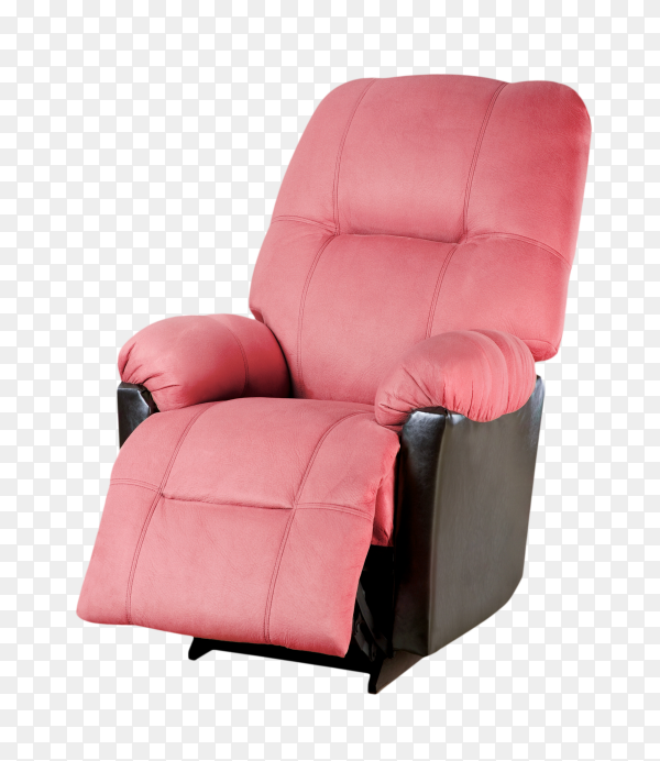 Pink modern armchair isolated on transparent background PNG