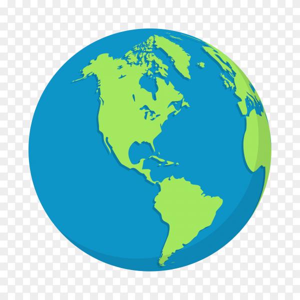 Plant earth globes illustration on transparent background PNG
