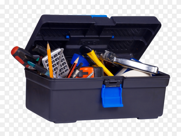 Plastic box with tools on transparent background PNG