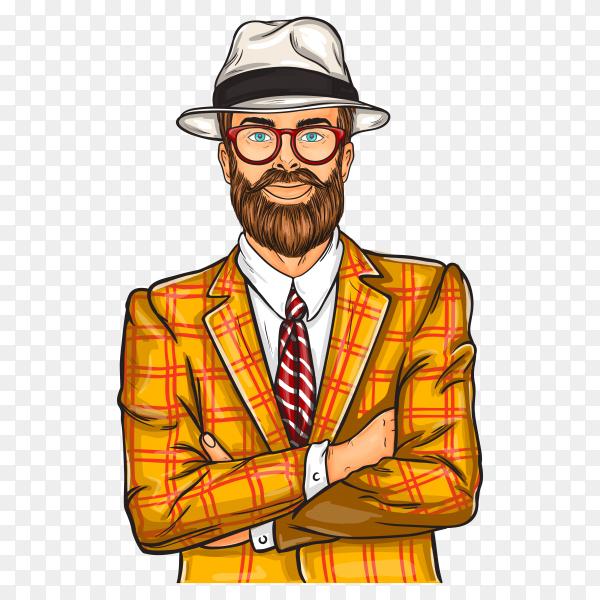 Pop art smile man illustration on transparent background PNG