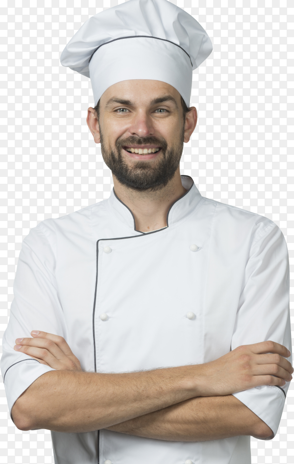 Portrait of smiling male chef in white uniform isolated on transparent background PNG