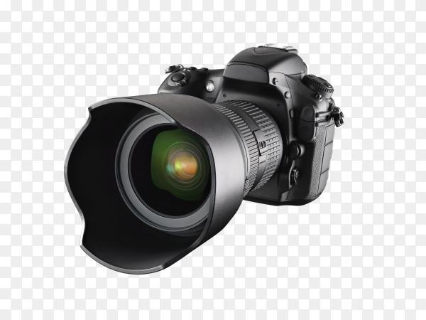 Professional DSLR camera on transparent background PNG