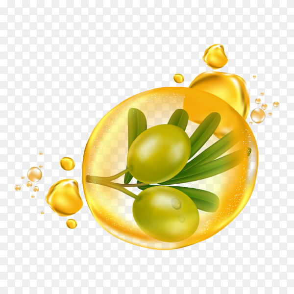 Realistic illustration cosmetic with ingredients olive oil skincare cosmetic on transparent background PNG