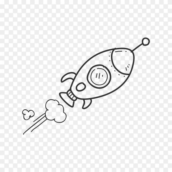Rocket hand drawn illustration on transparent background PNG