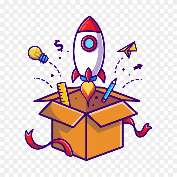 Rocket launch from box cartoon icon illustration. business technology icon concept on transparent background PNG