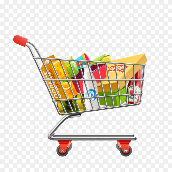 Shopping supermarket cart with products on transparent background PNG