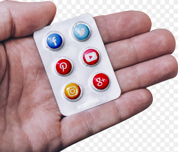 Social network addiction concept, pills with logo of the most famous social networks on transparent background PNG