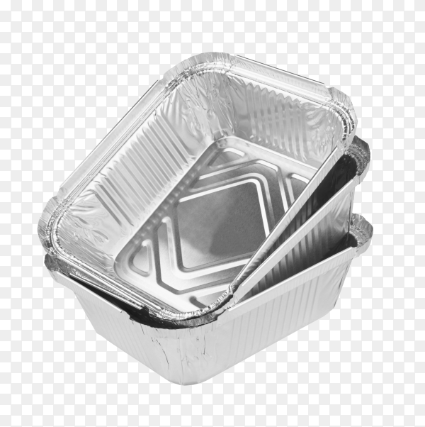 Some aluminum foil trays for food on transparent background PNG