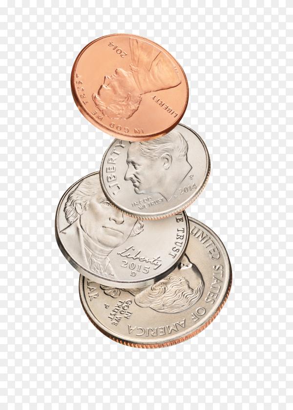 Stack of flight coins on transparent background PNG