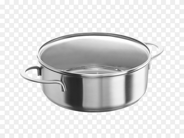 Stainless steel pot isolated on transparent background PNG