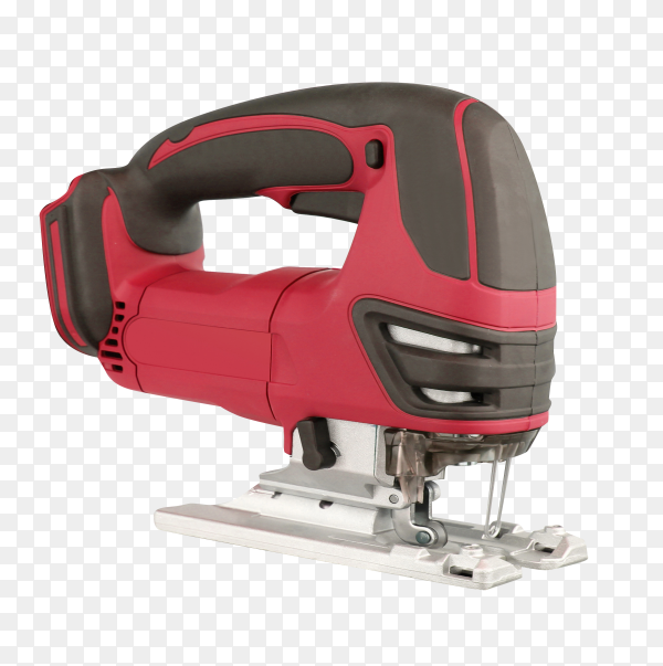 The tool is a red electric fretsaw isolated on transparent background PNG