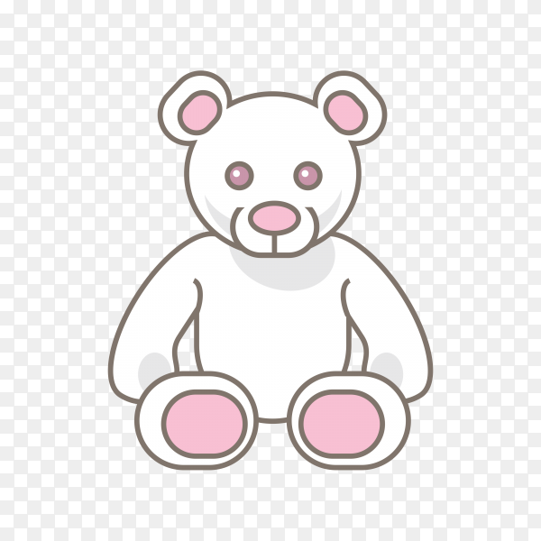 Toy teddy bear in white and pink color on transparent background PNG