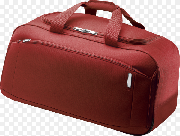 Travel bag red isolated white on transparent background PNG