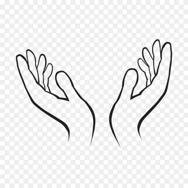Two hands holding something isolated. Female or male open hands up. Two female hands reaching out for help Line Drawing on transparent background PNG
