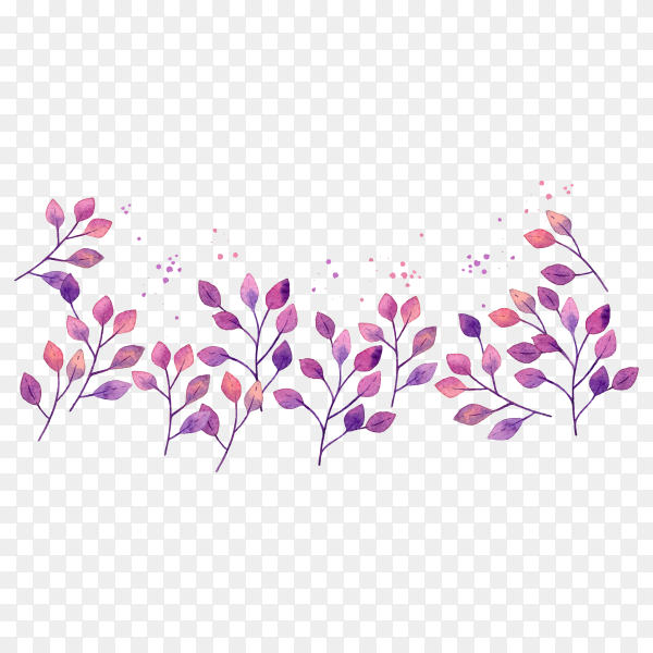 Watercolor purple leaves on transparent background PNG