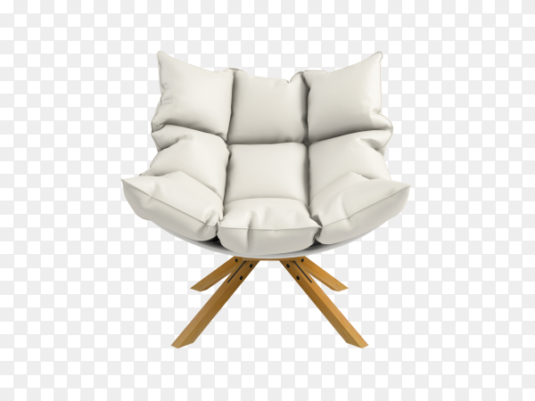 White armchair isolated on transparent background PNG