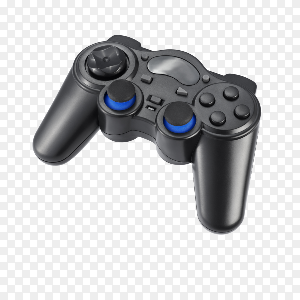 Wireless gamepad in black color isolated on transparent background PNG